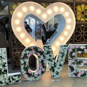 Heart Marquee Sign with Love Letters